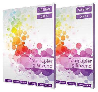 100 Blatt Fotopapier DIN A4 120g glänzend glossy weiß