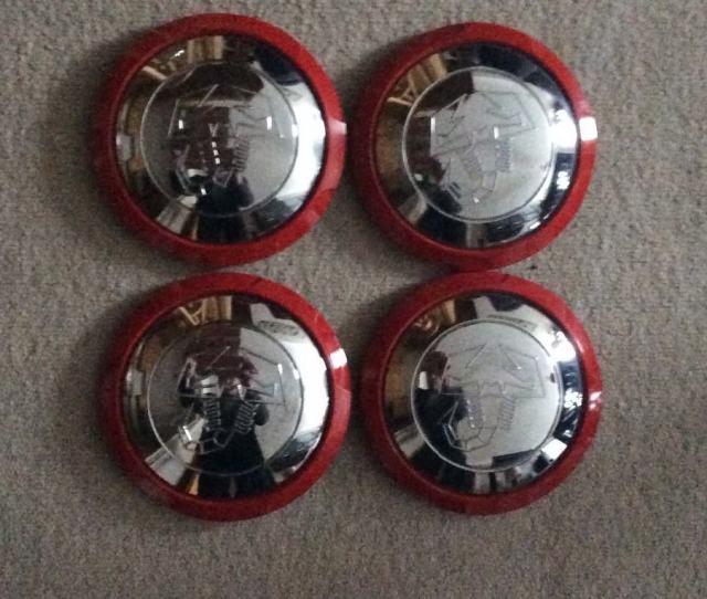 Fiat  Abarth Red And Chrome Scorpion Wheel Centre Caps