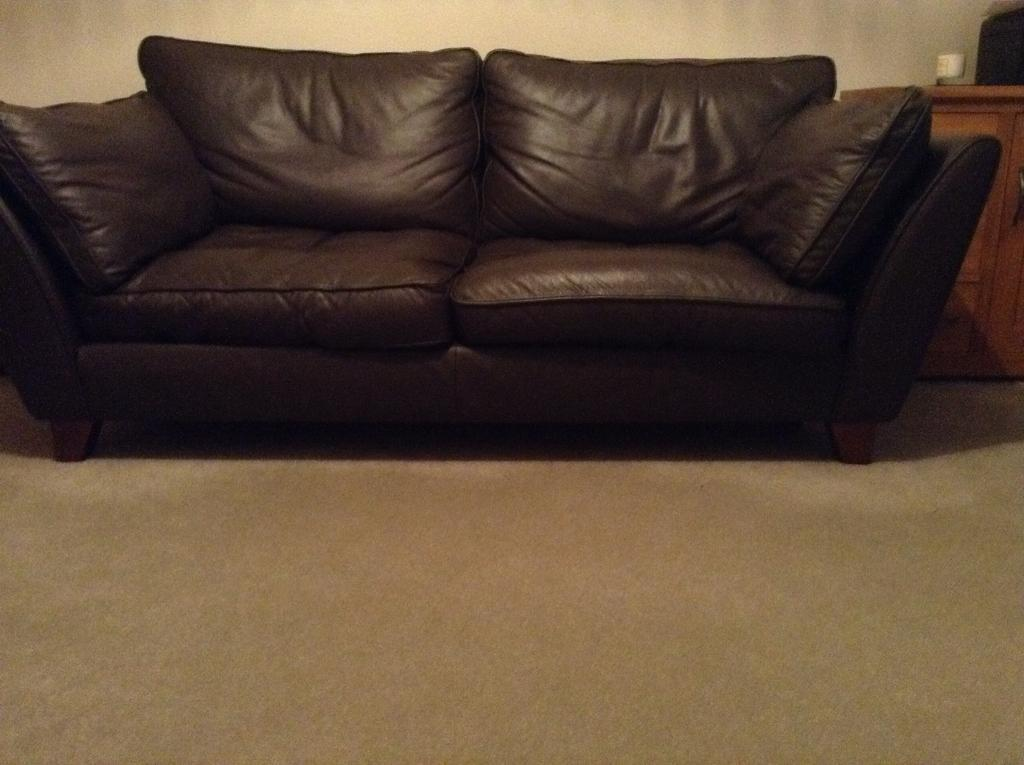 M S Large Barletta Sofa Brown Leather Excellent Condition Free