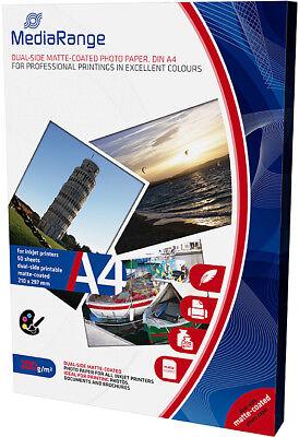 100 Mediarange Fotopapier 200g matt beidseitig für Tintenstrahl Drucker DIN A4