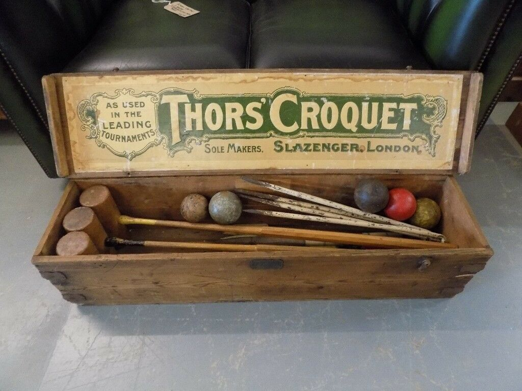 Antique Vintage Old 1930s Thors Croquet Set In Wooden Box
