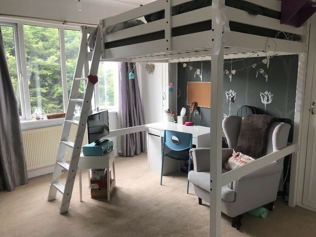 Ikea Stora Double Loft Bed White In Great Condition In