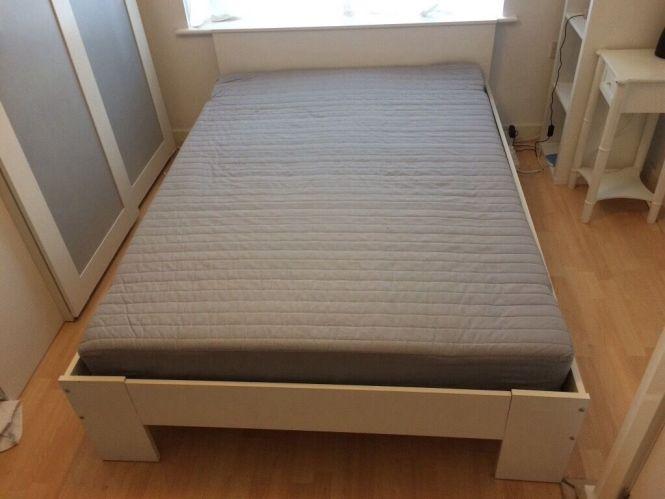 Free Ikea Double Bed White Aneboda Sultan Lovene Slatted Base And Mattress