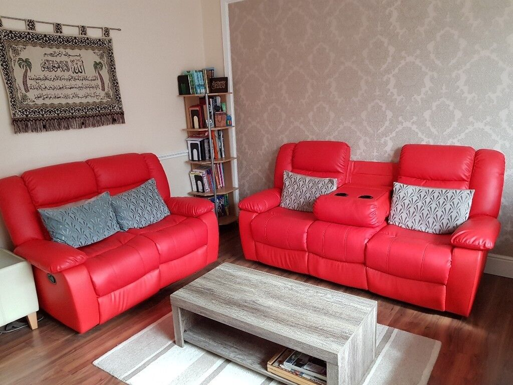 3 2 Seater Red Leather Sofas With Recliner Cup Holders In Fallowfield Manchester Gumtree