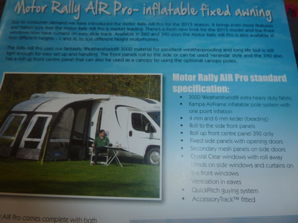 Kampa Rally Air Pro 260 Xl Awning To Fit A Motorhome