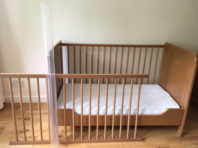 Ikea Leksvik Baby Cot Crib Toddlers Bed With A High Quality Mattress And Extras
