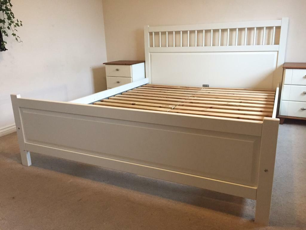 Ikea Hemnes White King Size Bed 200 X 150cm