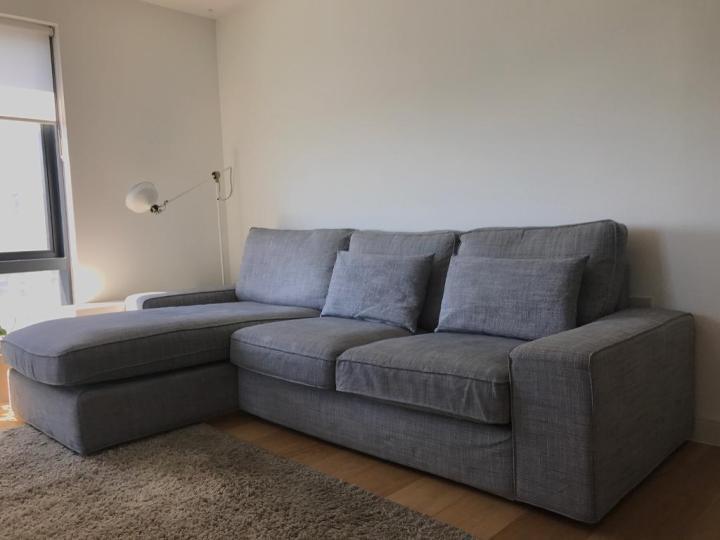 Kivik Two Seat Sofa And Chaise Lounge Dansbo Dark Grey