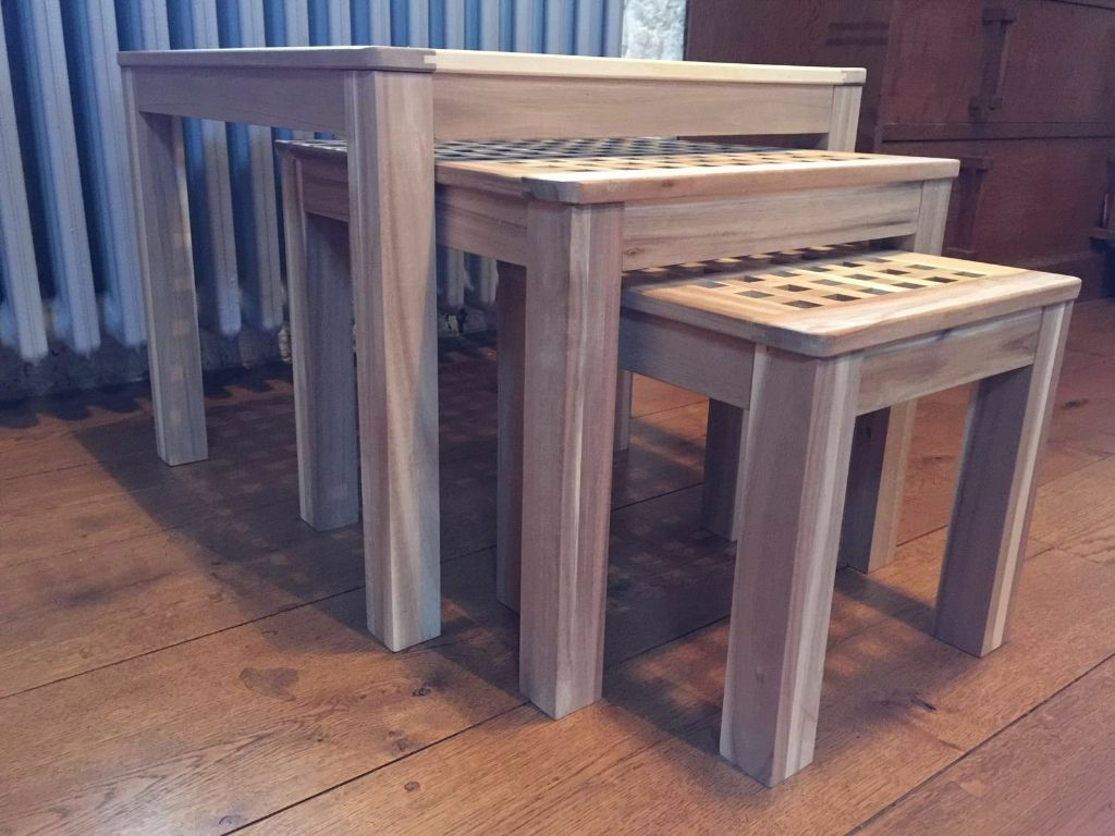 IKEA SKOGHALL Set Of 3 Solid Wood Nested Tables NEW Still