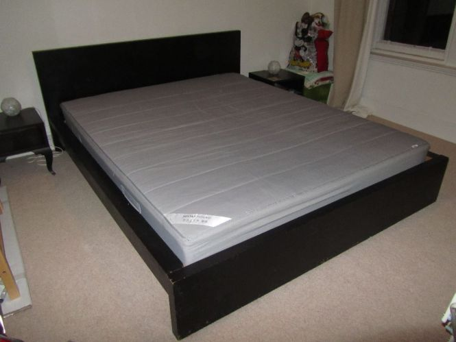 Kingsize Bed Ikea Originally Pine But Painted Black Good Quality Mattress With Fire