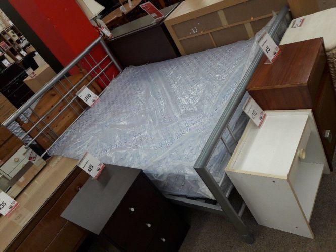 Metal Double Bed Frame Blue Mattress