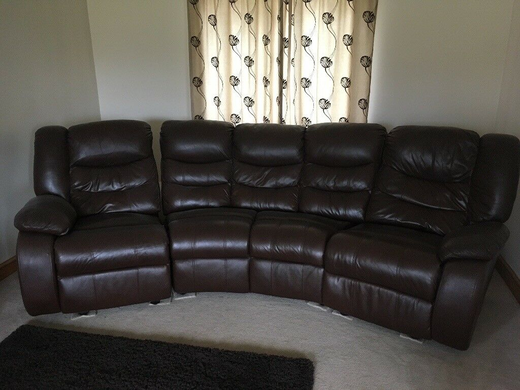 Chocolate Leather Curved Sofa In Reading Berkshire Gumtree