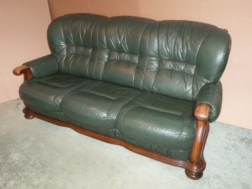Green Leather 3 Piece Suite 3 Seater Sofa Amp 2 Armchairs