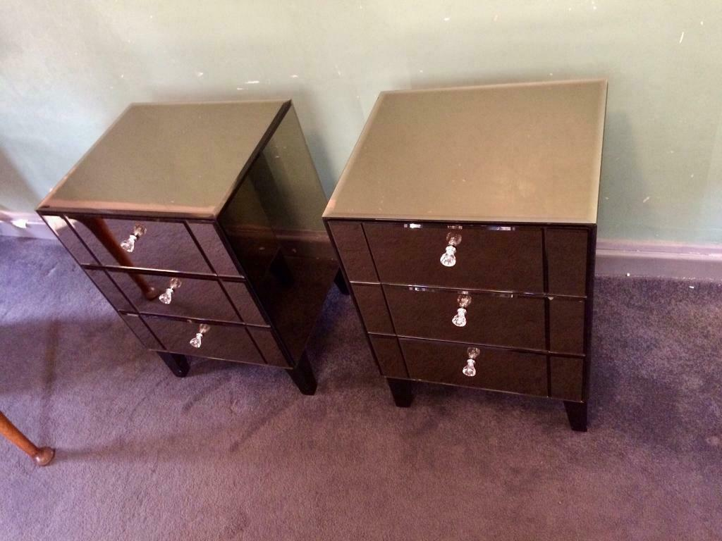 Mirrored Smoke Glass 3 Draw Bedside Cabinet In Morley West Yorkshire Gumtree