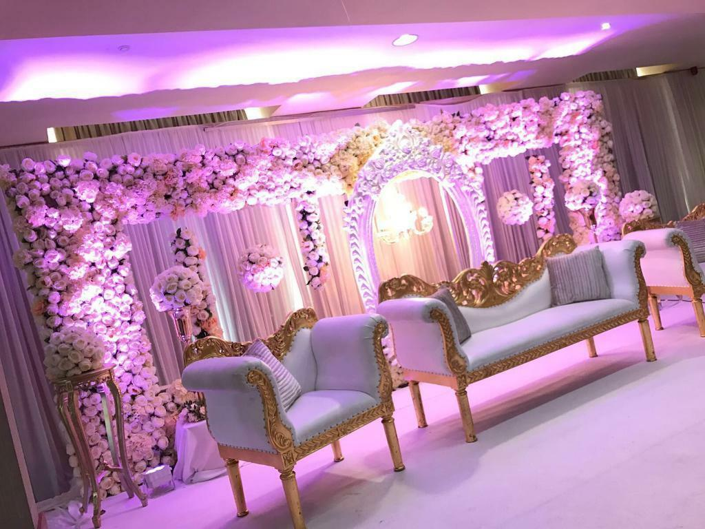 Asian Floral Wedding Stage- Mehndi stage/ centrepieces ...