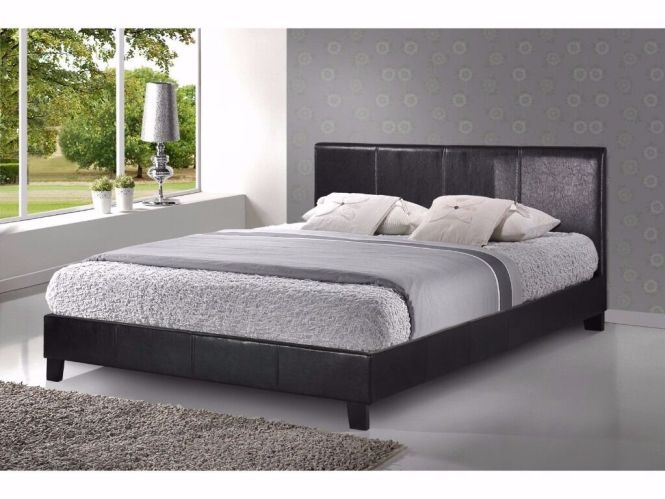 Brand New Standard Size 4 Ft 6 Double Leather Bed And Mattress Fast