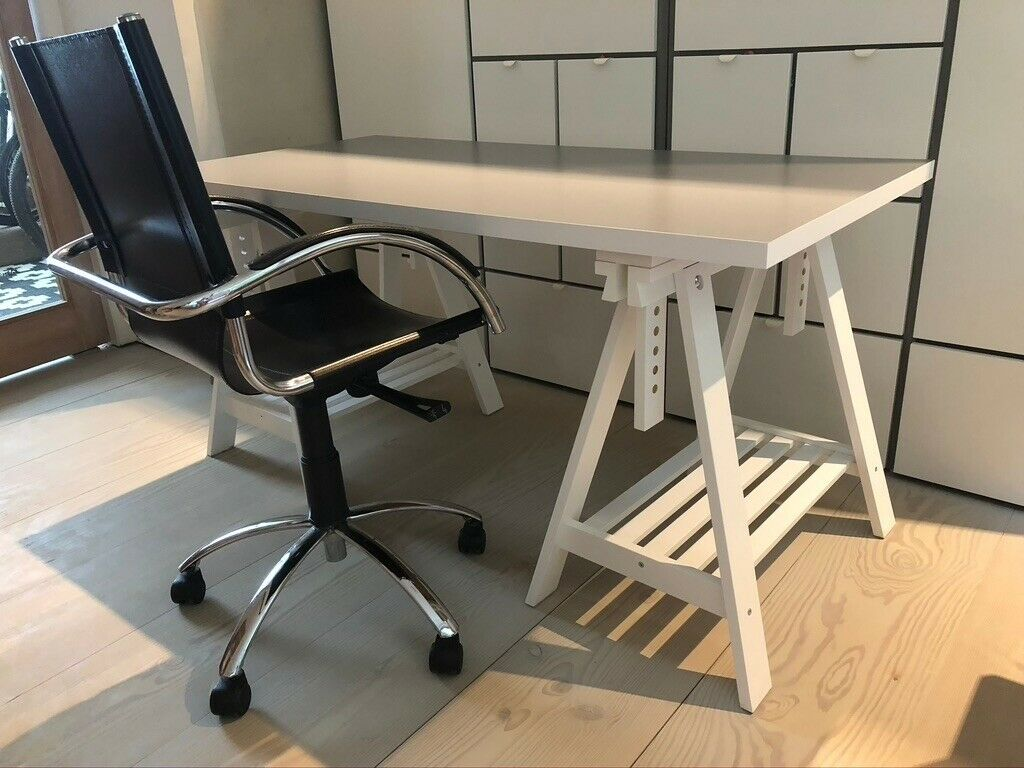 Desk And Chair Ikea Desk White Grey With Office Chair Black Leather And Chrome In Hampstead London Gumtree