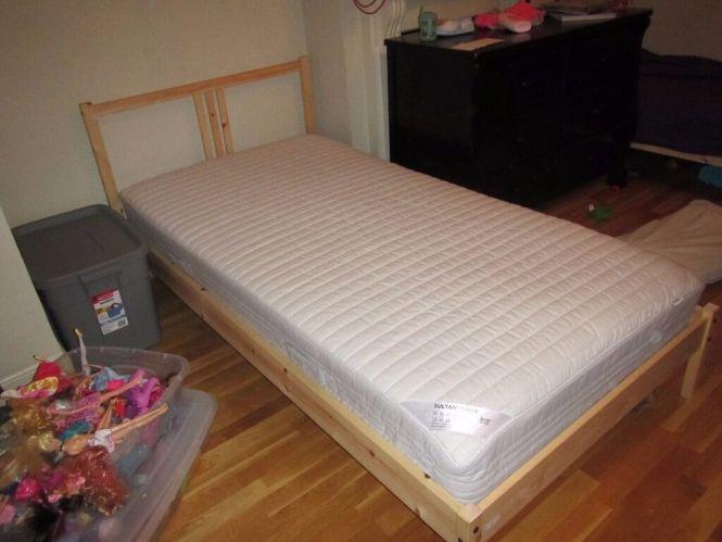 Ikea Fjellse Single Twin Bed Frame With Sultan Hurva Spring Mattress