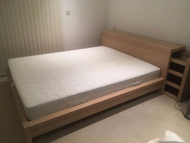 Ikea Malm Bed Headboard With Shelves And Sultan Hamnvik Mattress King Size