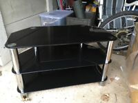 Black And Chrome Glass Tv Stand In Kettering Northamptonshire