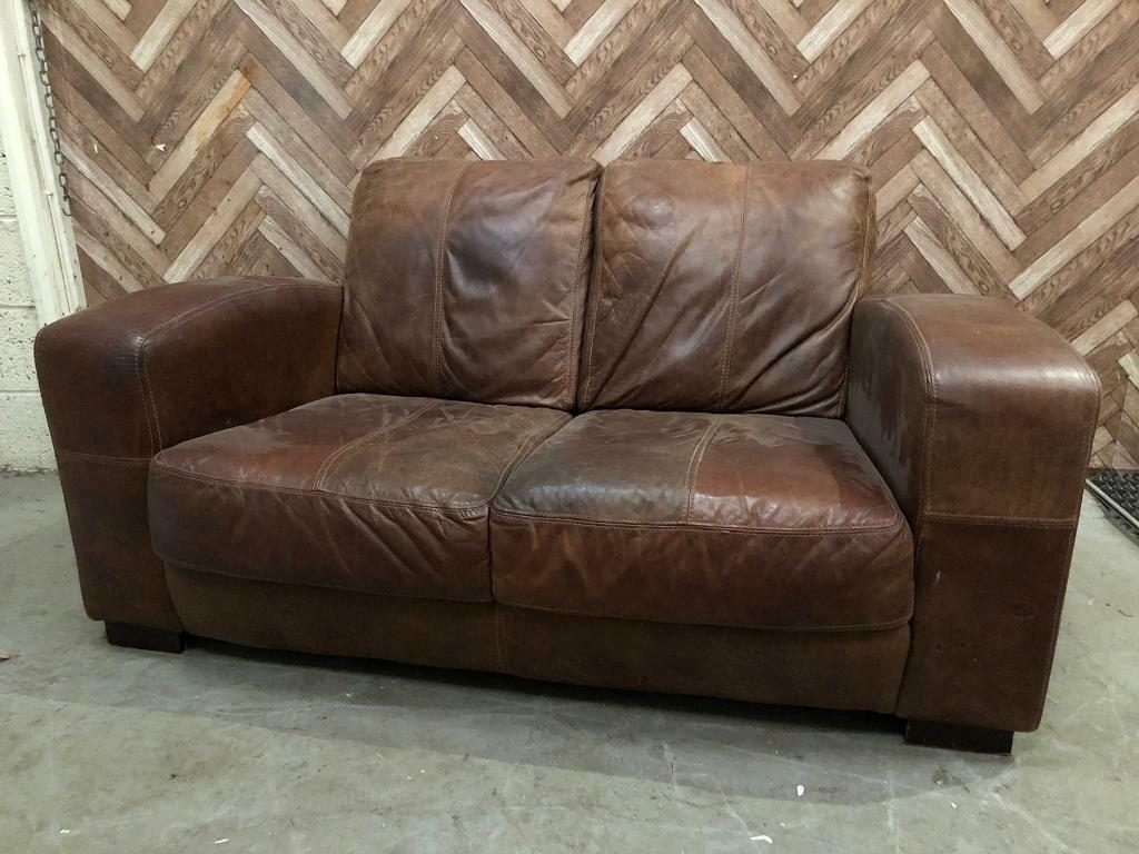 Leather Sofa Tan Distressed In Houghton Le Spring Tyne And Wear Gumtree