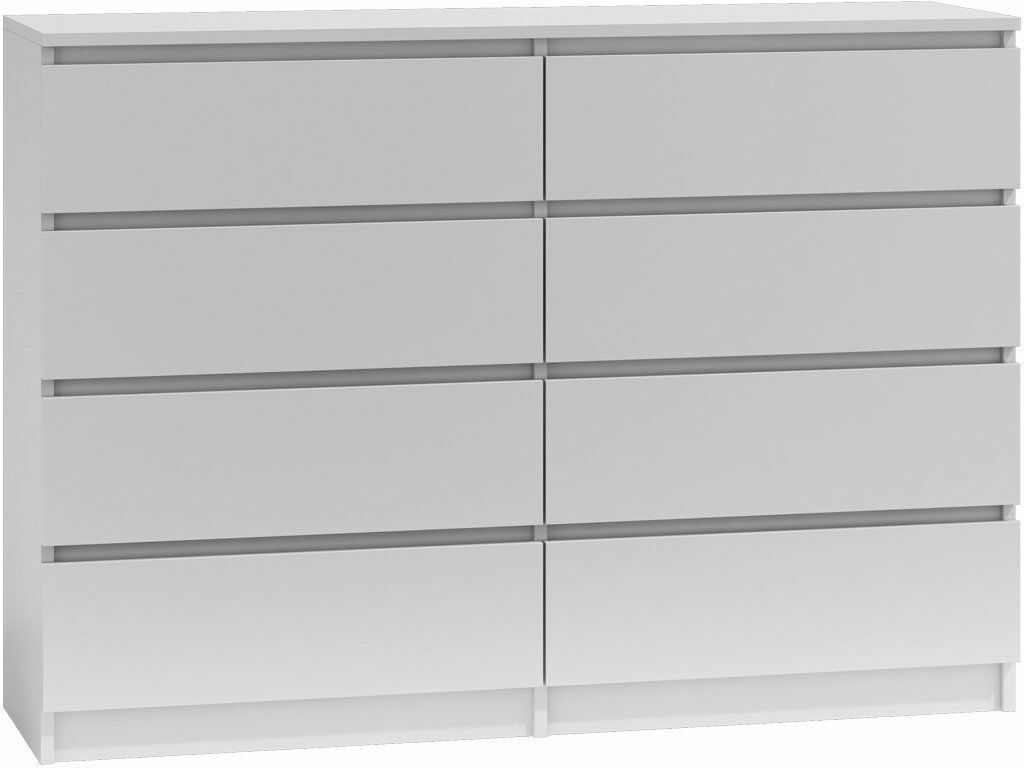 Moderne Kommode 8 Schubladen Wäscheschrank Klamotenschrank Sideboard 120cm Weiss