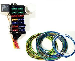 12 Circuit Universal Wire Harness Street Rod Rat Rod Muscle Car 2 Spares   eBay