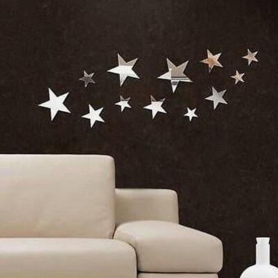 Spiegel Sterne 12er Set Deko Goldspiegel Kunststoff PS mit Klebepunkt