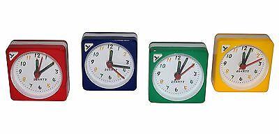 Mini Alarm Analog Quarz Uhr Wecker Reisewecker Reiseuhr Reise Snooze Wecken NEU