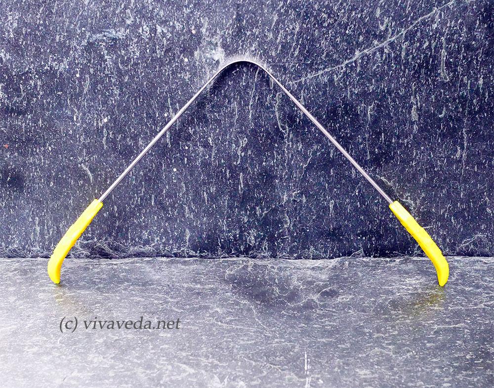 Ayurveda Zungenreiniger aus Edelstahl, Zungenschaber (gelb)