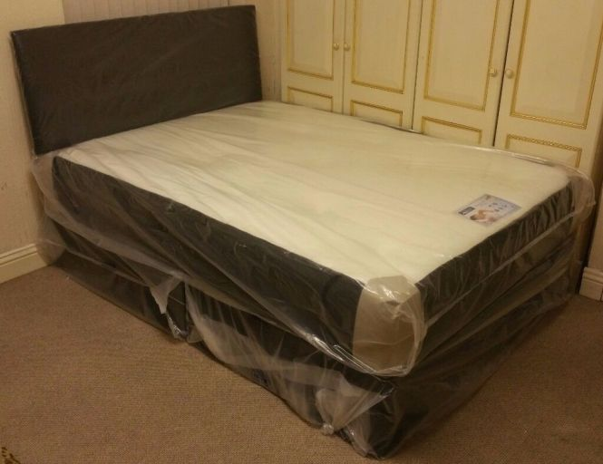 New Free Headboard Single Double Bed With Mattress Wardrobe Chest Of