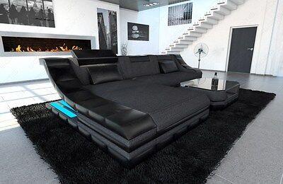Stoffsofa TURINO L-Form  grau- schwarz mit LED Beleuchtung Ecksofa Designer Sofa
