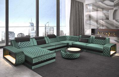 Sofa Couch Wohnlandschaft BERLIN XXL Stoff Luxus in türkis mit LED USB Recamiere