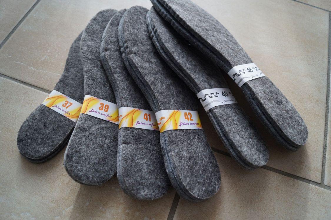 NEU Filz Winter Einlegesohlen Schuheinlagen Filzsohlen 2 Paar extra dicke 6-7 mm