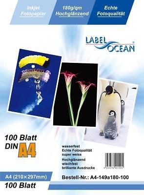 200 Blatt DIN A4 180g/m² Fotopapier Hglanz+wasserfest von LabelOcean