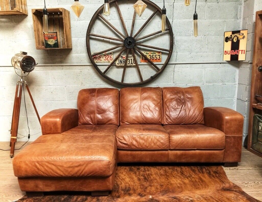 Vintage Distressed Leather Corner Sofa Tan In Whitefield Manchester Gumtree