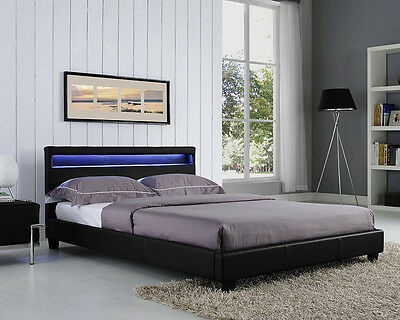 Double King Size Bed Frame LED Headboard Night Light And