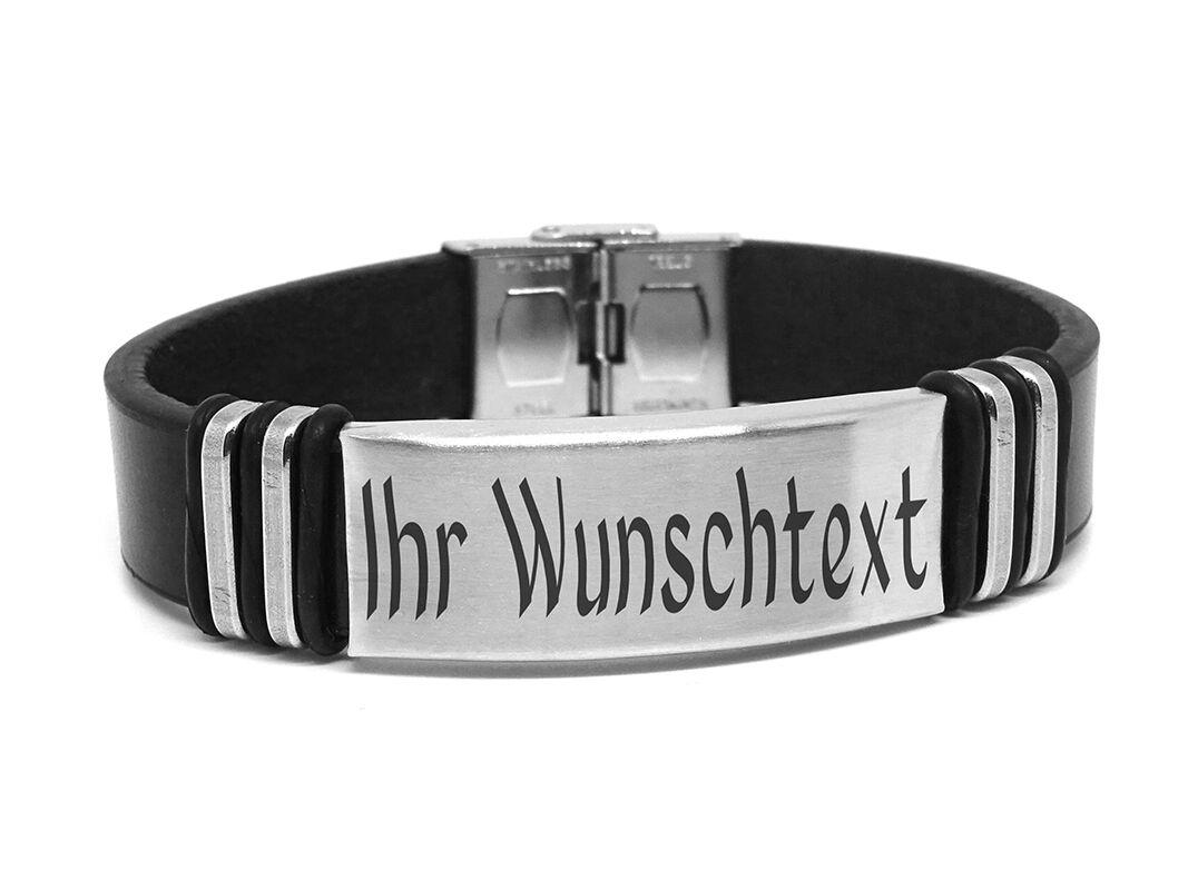 ID Leder Armband mit Edelstahlplatte Mit GRAVUR Wunschtext Wunschname Unisex