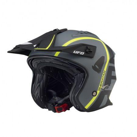 Casco moto UFO Jet Sheratan trial scooter colore nero giallo opaco street urban