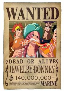 POSTER ONE PIECE JEWELRY BONNEY RUFY RUBBER WANTED TAGLIA
