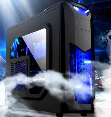 X3 PC Gaming Gehäuse Midi-Tower + 2x Blauen LED Lüfter + Fenster ATX mATX USB