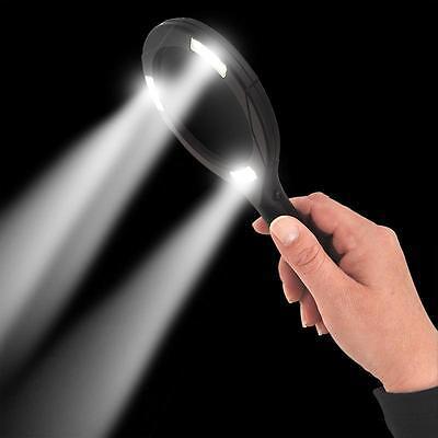 Leselupe 5 fache Vergrößerung mit Cob Led  Lesehilfe Beleuchtung Lichtlupe Lampe