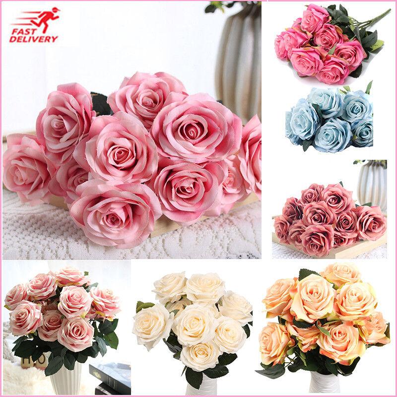 10 Köpfe Künstliche Rose Blume Rosenköpfe Kunstblumen Blumenstrauß Hochzeit Deko