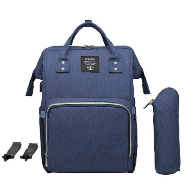 LEQUEEN Waterproof Diaper Bag USB Charging Large Capacity Mummy Nursing Backpack 7