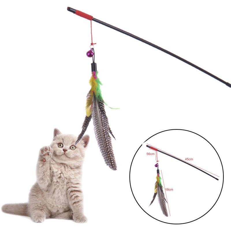 45cm Katze Haustier Spielzeug Glocke Maus Spielangel Katzenangel Glocke Feder