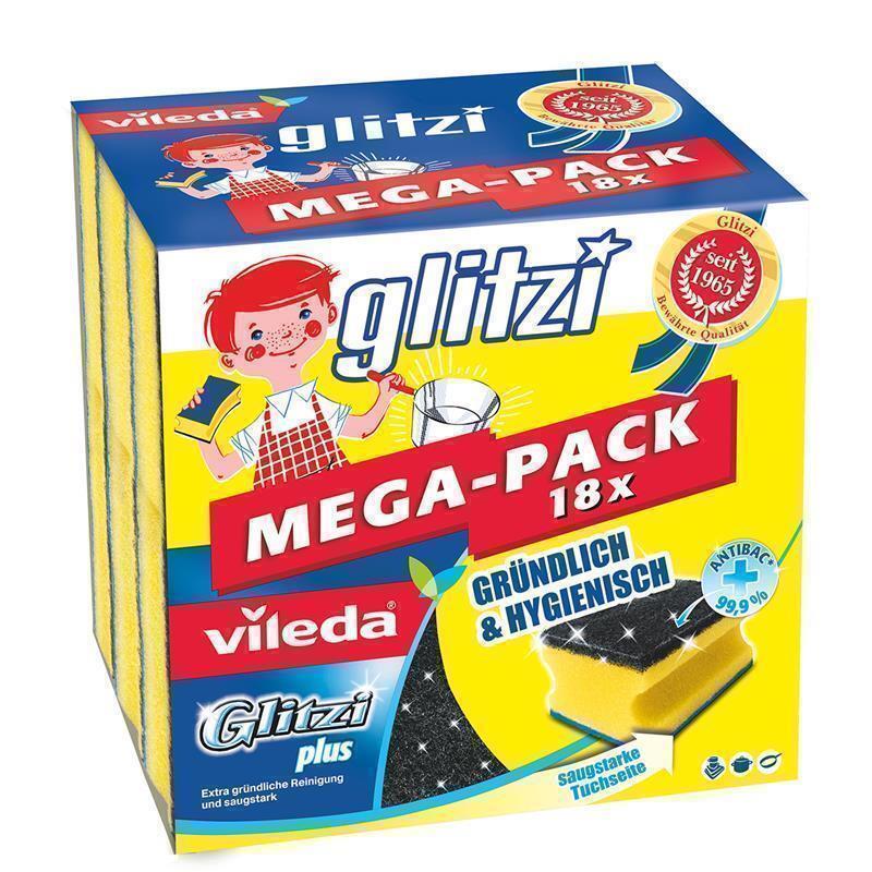 Vileda Glitzi Plus Topfreiniger 18er Pack Schwamm Spülschwamm Putzschwamm Spülen