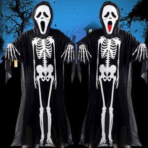 Halloween Skeleton Skull Gown Cover Kit Hooded Gloves Mask Reaper Fancy Dress US