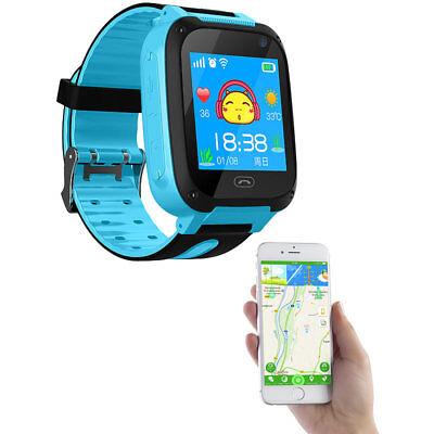 TrackerID Kinder-Smartwatch mit Telefon, GSM/LBS-Tracking, SOS-Funktion, blau