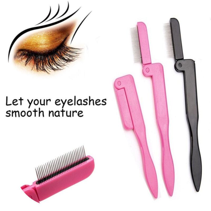 Faltbare Wimpern Kamm Mascara Separator Lash Curl Augenbrauen Pinsel Werkzeug HQ