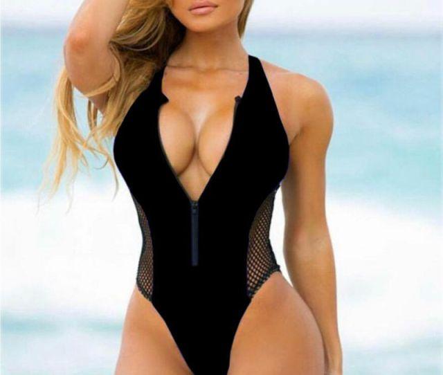 Mesh Women One Piece Swimsuit Sexy Deep V Zipper Swimwear Thong